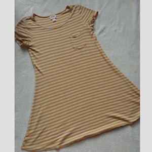 Yellow Striped T-Shirt Dress